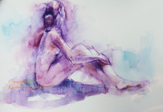 Watercolor Figure Drawing of Nude in Lavender and Blue Original Art Painting