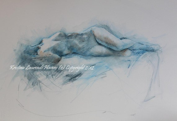 RESERVED FOR KATHY Original Watercolor Art Painting in Blue of Reclining Female Nude Figure