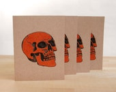 Halloween Skull Card in Orange Set of 4