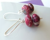 RESERVED FOR KITZIEG Pink Magenta with a hint of purple Bead Earrings