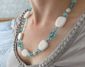 Turquoise and White Knotted Necklace