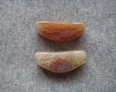 2 Orange Snakeskin  Agate Pendant