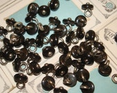 Mother of Pearl vintage MOP BOOT buttons--black 50 metal shank