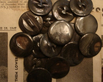 "Vintage MOP  buttons 50 large antique dyed 1"" mother of pearl NOS"