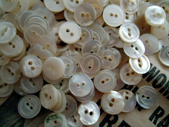 """Vintage Mother of Pearl MOP Antique Buttons NOS 100 1/2"""""""