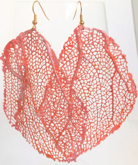 Coral & Pink Sea Fan Leaf Shaped Glittered Earrings