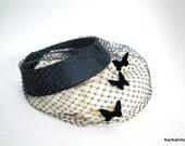 Vintage Ladies Hat, Fascinator, Navy Blue Butterflies, Netting & Ring Birdcage, circa 1950
