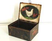Chicken Tin Box, Circa 1900, Covered with Hen Labels