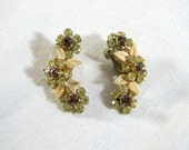 Enamel & Rhinestone 1940s Climbing Floral Leaf Earrings