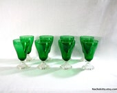 Reserved for Sweetoy: Emerald Glass Fluted Water Glasses, Clear Stems, Vintage