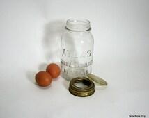 1910s Canning Jar w/ Glass Lid Hazel Atlas Strong Shoulder