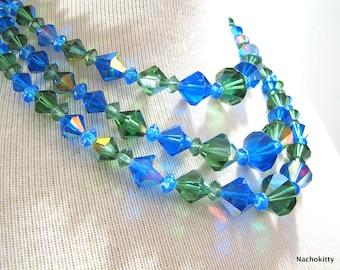 Set Cut Crystal Necklace & Bracelet Blue and Green, Circa 1950