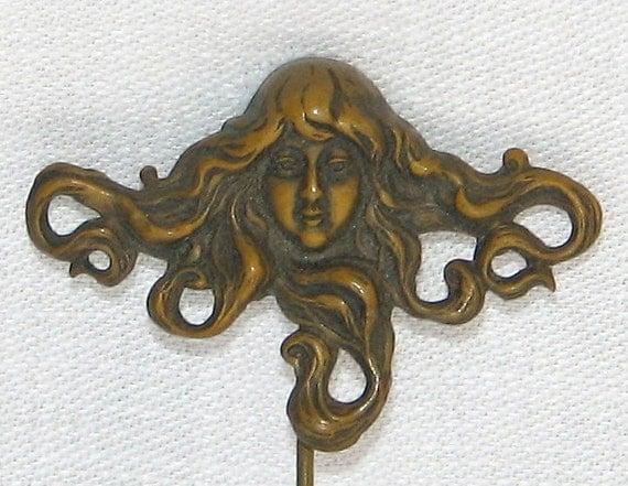 1900s Art Nouveau Lapel Pin, Mythological Goddess