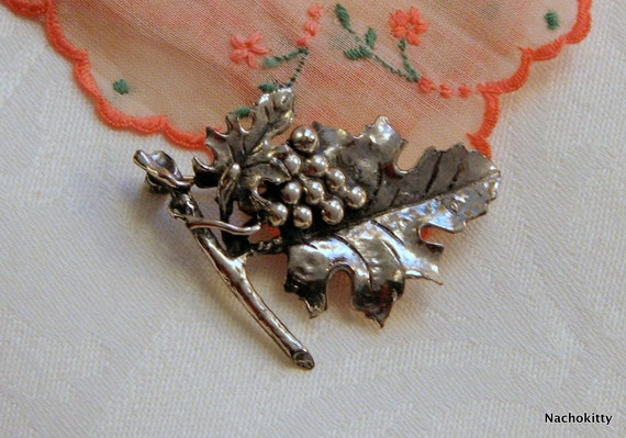Vintage Sterling Silver Grape Vine Pin, by Danecraft, Wine Lovers