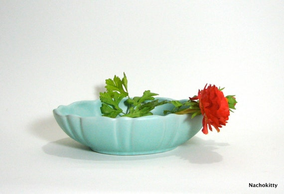 Fluted Bowl, California Pottery, Turquoise Blue