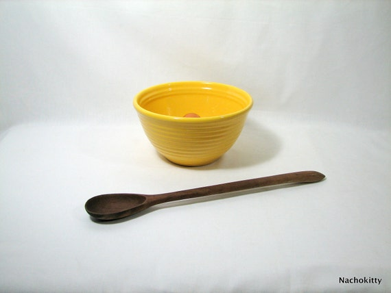 Vintage Bauer Pottery Ringed Mixing Bowl, Bright Yellow