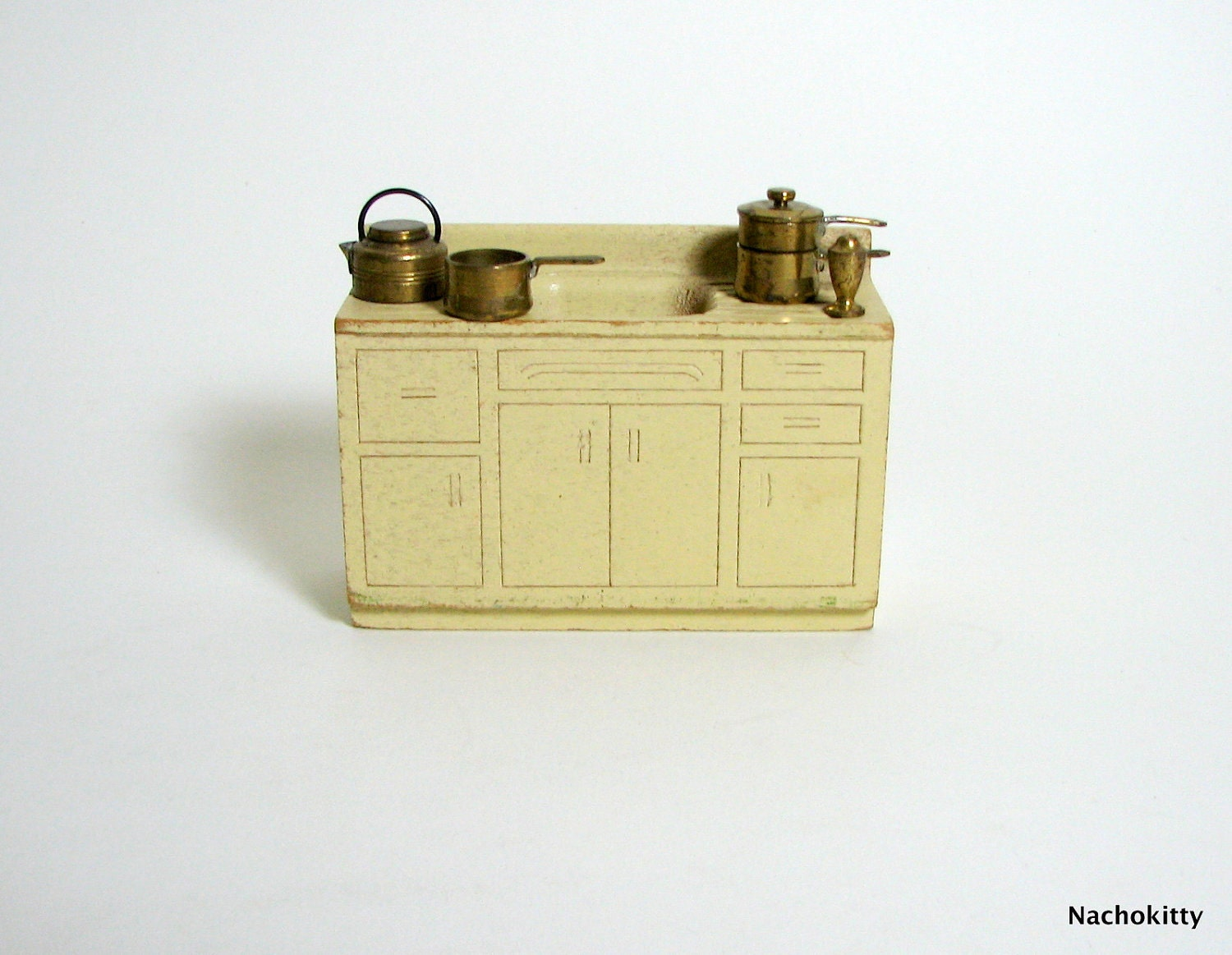 1930s Dollhouse Kitchen Sink And Accessories Vintage By