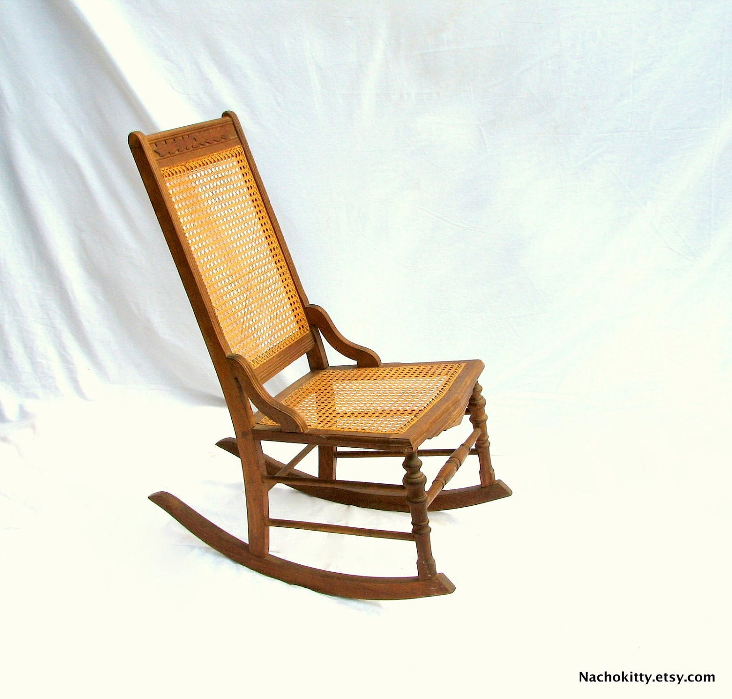 caned rocking chair antique hand carved hardwood by nachokitty. Black Bedroom Furniture Sets. Home Design Ideas