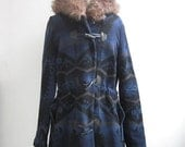 RESERVED for Elizabeth:  Aztec Navy Blue Navajo Inspired Tribal Coat Jacket