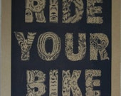 Chinese Woodcut Ride Your Bike Poster