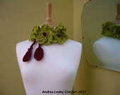 Lariat Scarf Necklace in Crochet with Big Green Chunky Flowers (Made to Order)