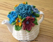 Custom order for Allison 4-Cup Crochet Tea Cosy light grey with flowers
