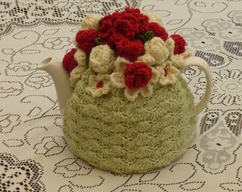 4-6 Cup Crochet Tea Cosy/ Tea Cozy/ Cosy/ Cozy  - Pale Green and Red (Made to order)