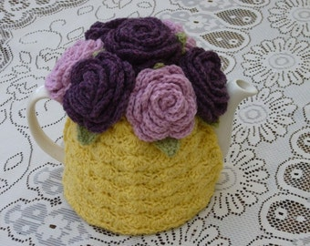 Tea Cosy Tea Cozy Teacosy Teacozy Cosy Cozy Crochet Yellow with Roses (Made to order)