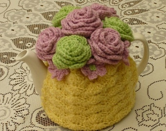 Tea Cosy Tea Cozy Teacosy Teacozy Cosy Cozy Crochet Yellow with Pink and Green Roses (Made to order)
