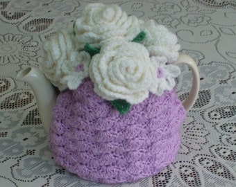 4-6 Cup Crochet Tea Cosy/ Tea Cozy/ Cosy/ Cozy Light Pink with Roses (Made to order)