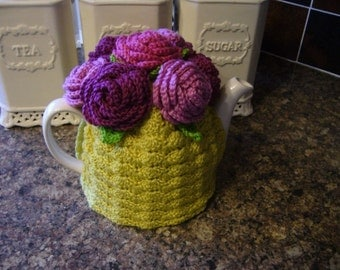 4-6 Cup Crochet Tea Cosy/ Tea Cozy/ Cosy/ Cozy Mustard with Roses (Made to order)