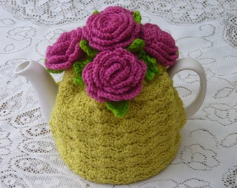 Tea Cosy Tea Cozy TeacosyTeacozy Cosy Cozy Crochet Mustard and Pink with Roses (Made to order)