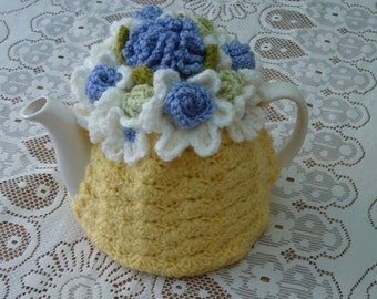 Tea Cosy Tea Cozy Teacosy Teacozy Cosy Cozy Crochet Yellow with Blue Flowers  (Made to order)
