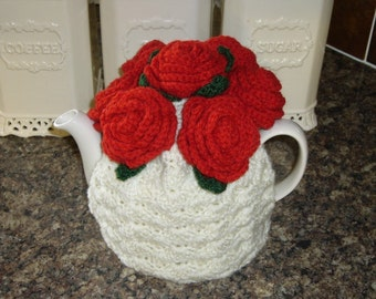 Tea Cosy Tea Cozy Teacosy Teacozy Cosy Cozy Crochet Cream with Red Roses Valentine. (Made to order)