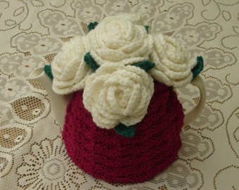 Tea Cosy Tea Cozy Teacosy Teacozy Cosy Cozy Crochet Cerise Pink with Roses (Made to order)