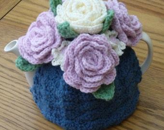 4-6 Cup Crochet Tea Cosy/ Tea Cozy/ Cosy/ Cozy  Denim Blue with Roses
