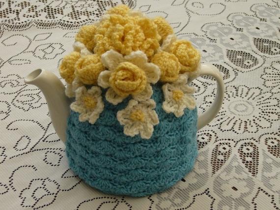 4-6 Cup Crochet Tea Cosy/ Tea Cozy/ Cosy/ Cozy  Blue (Made to order)