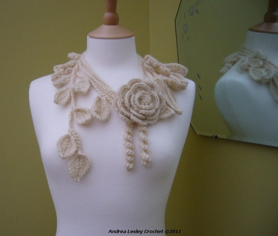 Lariat Scarf Necklace in Crochet with Cream Rose and Leaves (Made to order)
