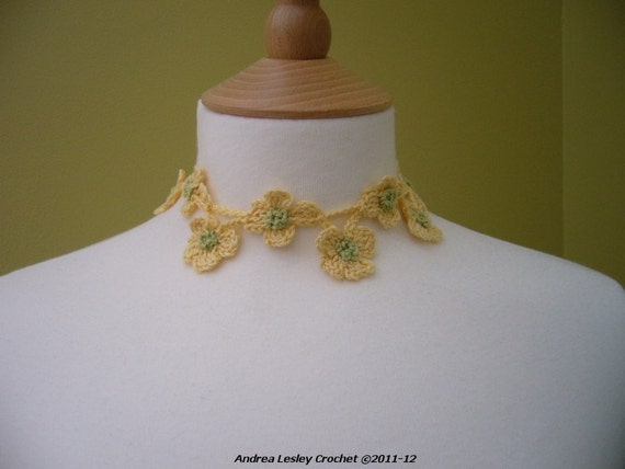 Crochet Flower Necklace in Yellow and Green (Made to order)