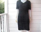 Vintage 80s Hemitite Beaded Silk Black Dress Sz Sm