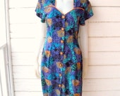Vintage 80s Moody Blues Abstract Wiggle Dress /  Sz Med