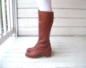Vintage 1970s Tall Campus Boots by Dexter with Wood Heels Sz 9