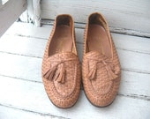 Vintage Mens BALLY of Switzerland  Woven Leather Loafers Sz 10