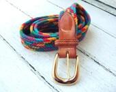 Vintage Rainbow Woven Belt Sz M/L