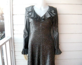 Vintage 60s 70s LUREX Silver Graphite Sparkle Maxi Dress