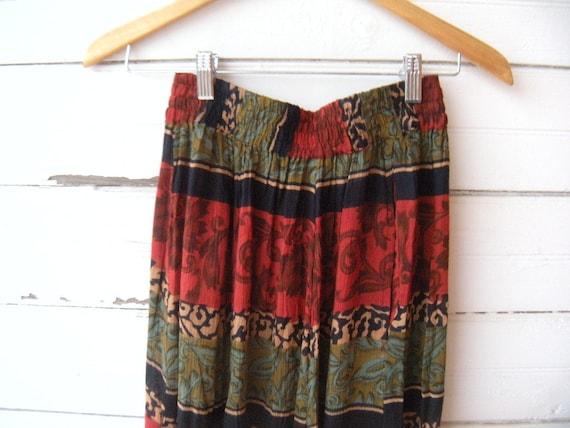 Vintage 80s Beaded Black and Red Guaze Floral Skirt  Sz Medium