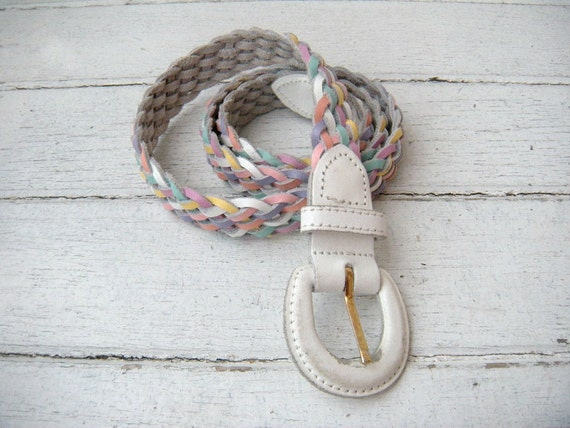 Vintage 80s White Pastel Braided Leather Skinny Belt Made in Argentina Size S/M