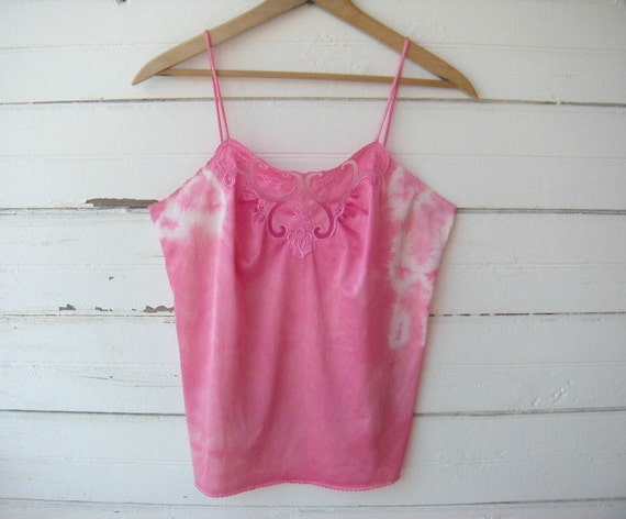 Pretty Pink Tie Dyed Vintage Satin and Lace Camisole Sz 32