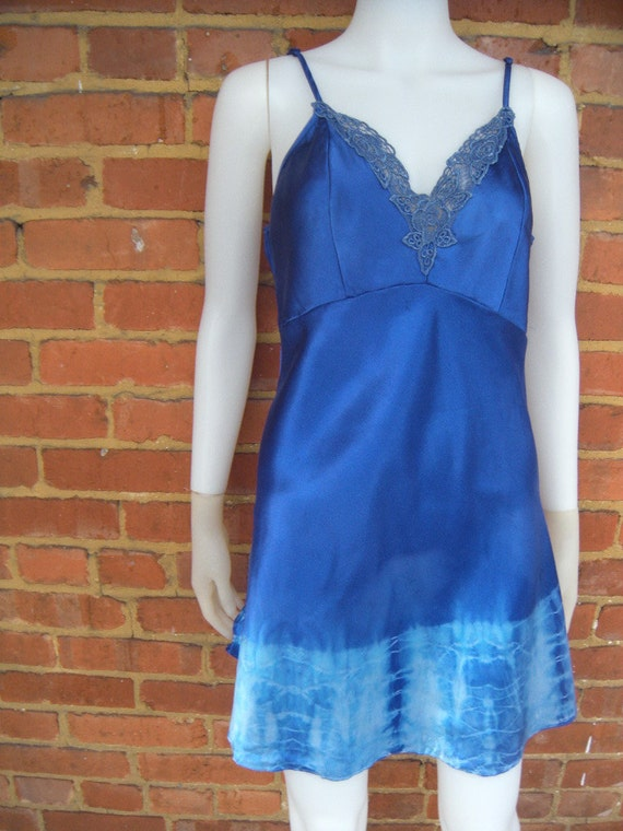 Electric Mediterranean Blue ...A Hand Tie Dyed Satin Vintage Slip Dress with Lace Sz Medium - Large