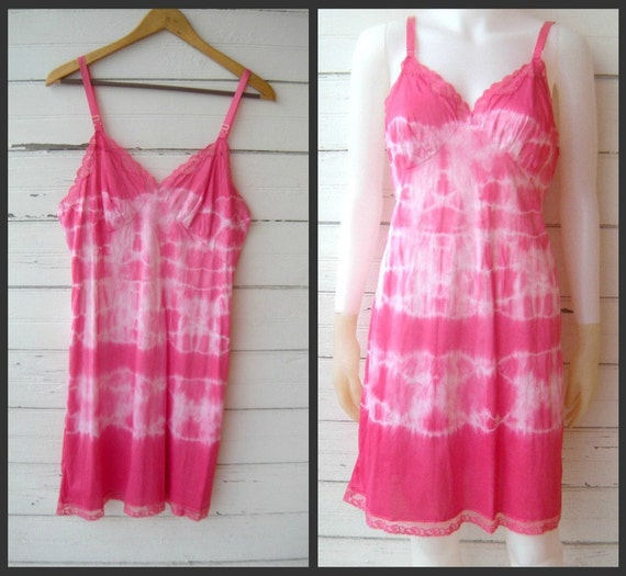 Cabaret Pink ... A Hand Tie Dyed Lace Vintage Slip Gown Sz 36